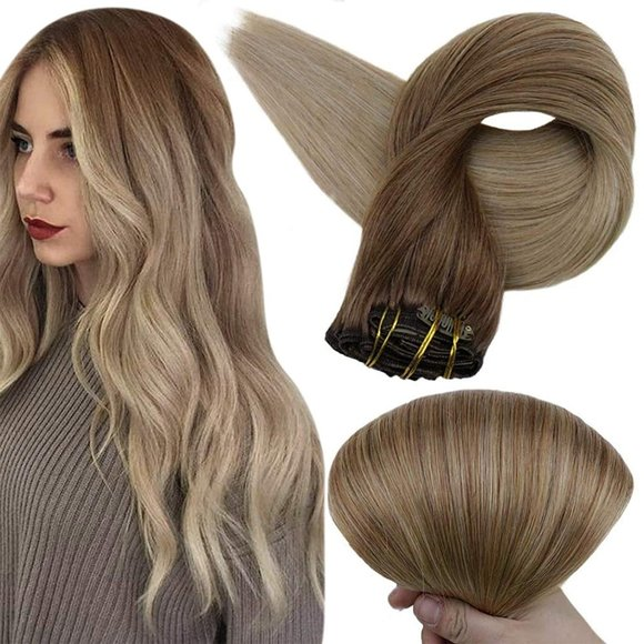 """20"""" Balayage Human Hair Clip in Extensions Blonde"""